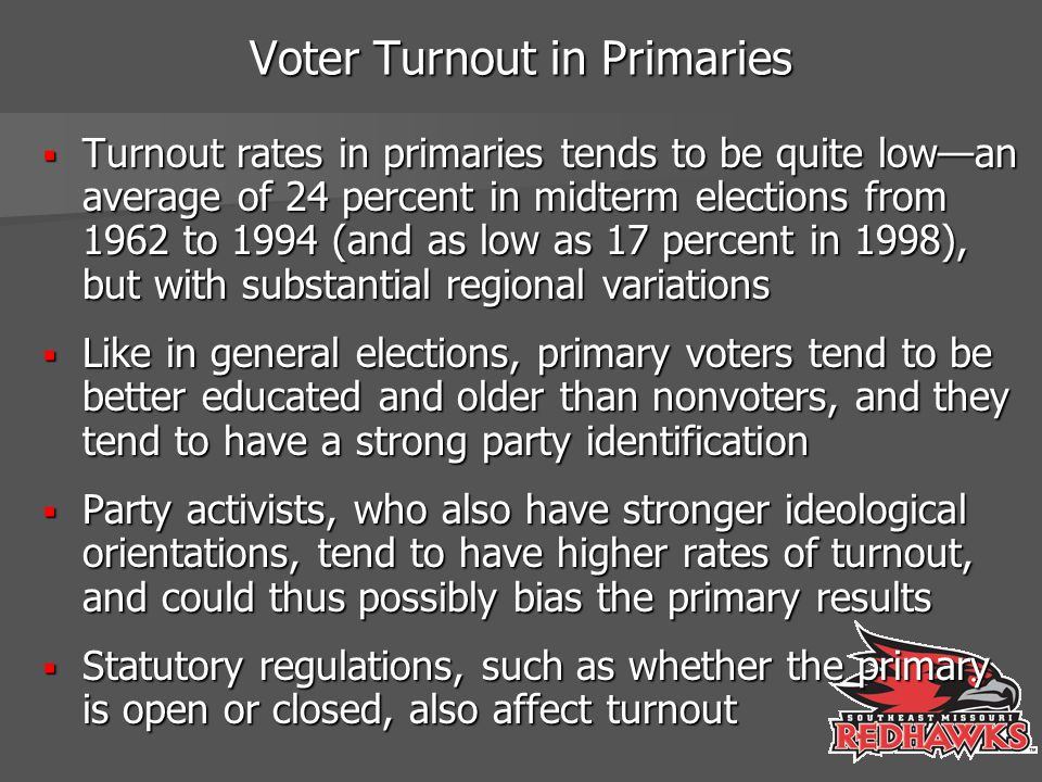 Voter Turnout in Primaries  Turnout rates in primaries tends to be quite low—an average of 24 percent in midterm elections from 1962 to 1994 (and as low as 17 percent in 1998), but with substantial regional variations  Like in general elections, primary voters tend to be better educated and older than nonvoters, and they tend to have a strong party identification  Party activists, who also have stronger ideological orientations, tend to have higher rates of turnout, and could thus possibly bias the primary results  Statutory regulations, such as whether the primary is open or closed, also affect turnout