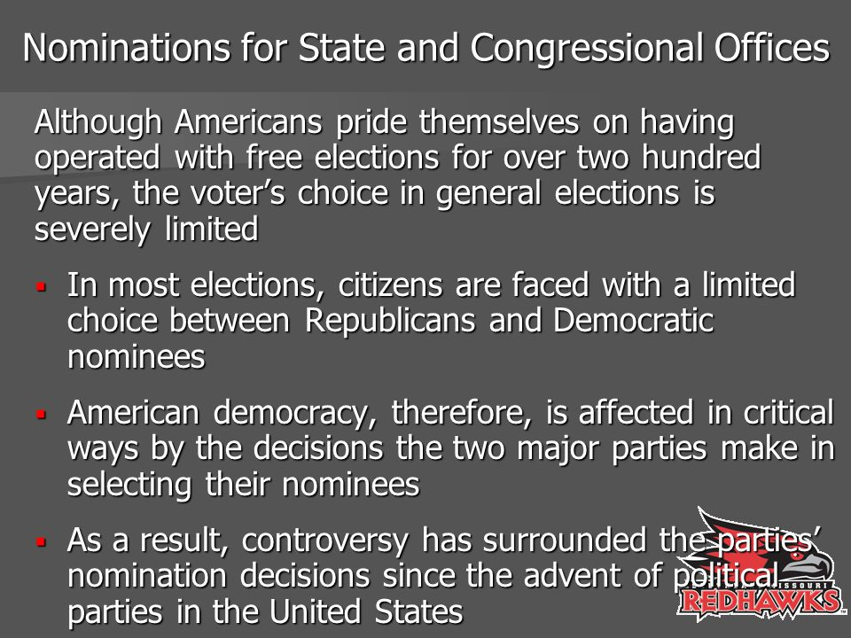 Competition in Primaries It was the expectation of the reformers that the direct primary would stimulate competition among candidates for party nominations, but this hope has not been fulfilled  In a substantial percentage of the primaries, nominations either go uncontested or involve only nominal challenges to the front-runner  The two key determinants of intraparty competition in the primaries are the extent of the interparty competition and incumbency