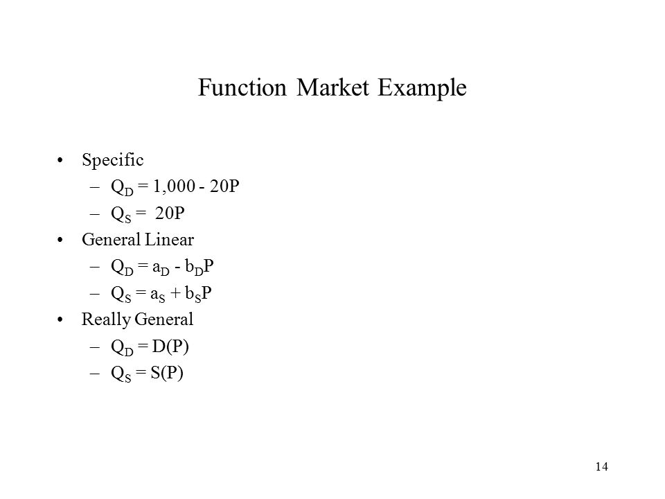 14 Function Market Example Specific –Q D = 1,000 - 20P –Q S = 20P General Linear –Q D = a D - b D P –Q S = a S + b S P Really General –Q D = D(P) –Q S = S(P)