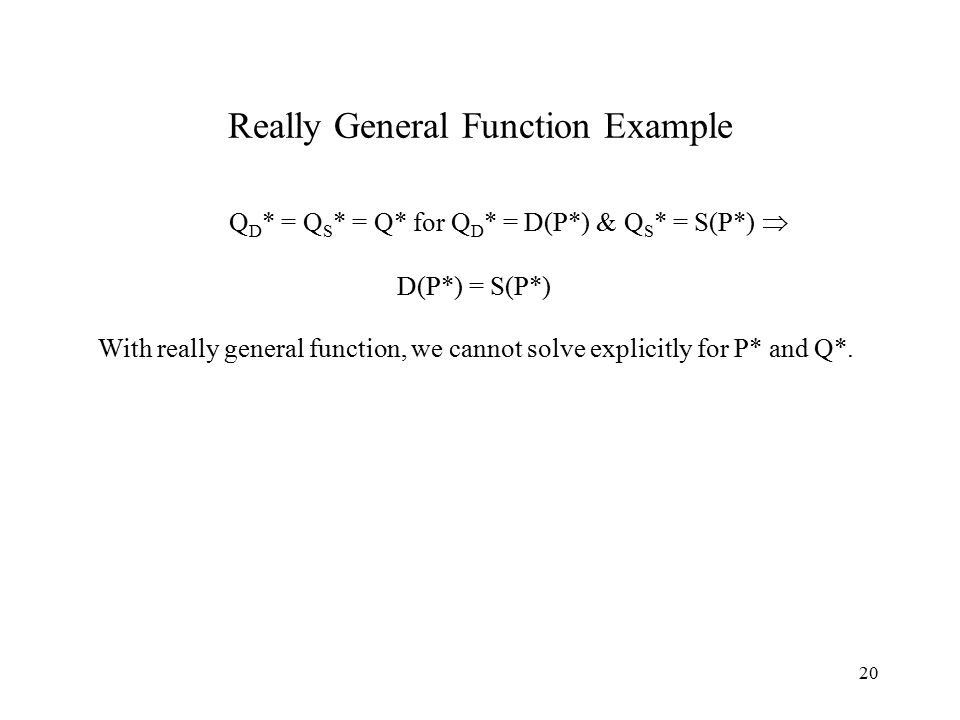 20 Really General Function Example Q D * = Q S * = Q* for Q D * = D(P*) & Q S * = S(P*)  D(P*) = S(P*) With really general function, we cannot solve explicitly for P* and Q*.