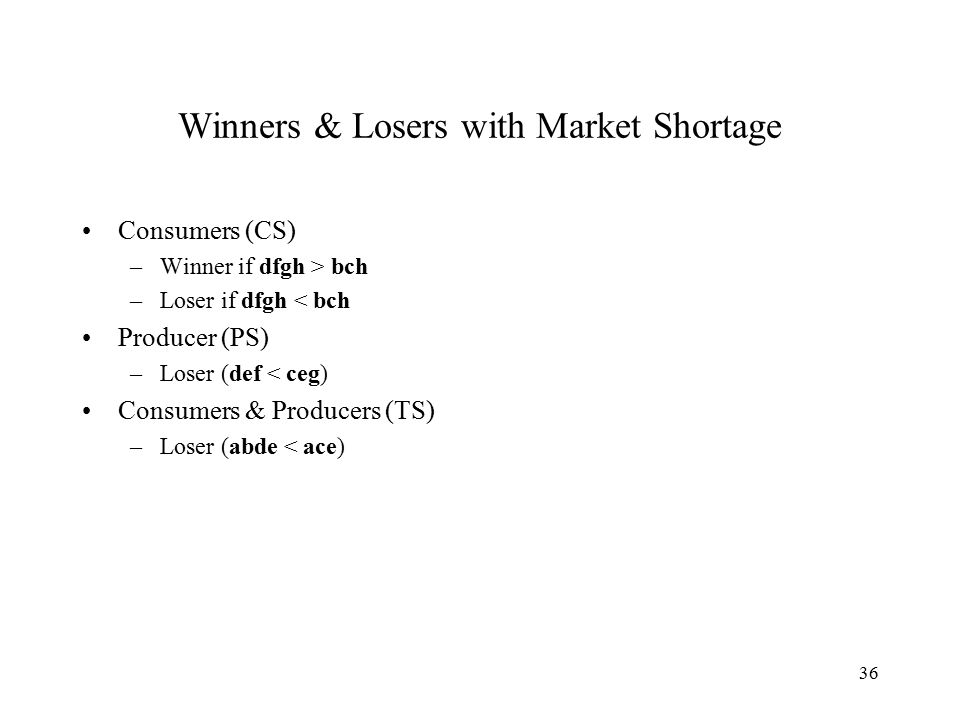 36 Winners & Losers with Market Shortage Consumers (CS) –Winner if dfgh > bch –Loser if dfgh < bch Producer (PS) –Loser (def < ceg) Consumers & Producers (TS) –Loser (abde < ace)