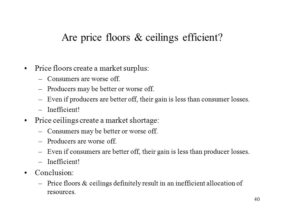 40 Are price floors & ceilings efficient.