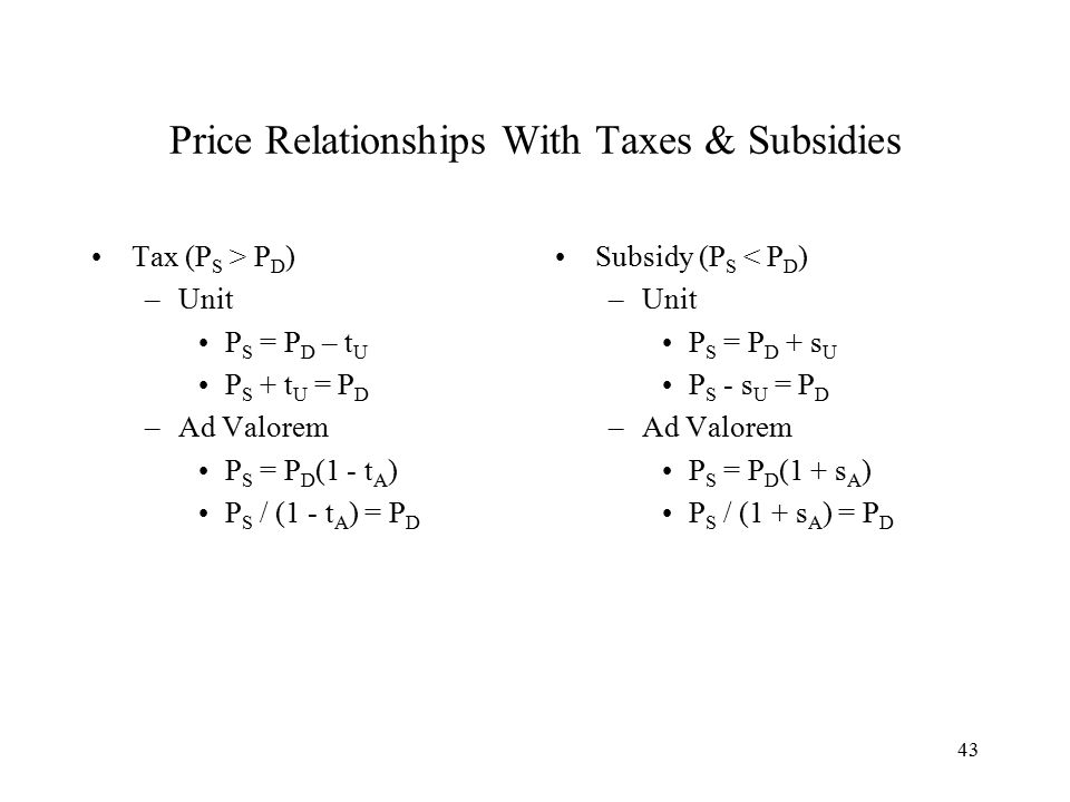 43 Price Relationships With Taxes & Subsidies Tax (P S > P D ) –Unit P S = P D – t U P S + t U = P D –Ad Valorem P S = P D (1 - t A ) P S / (1 - t A ) = P D Subsidy (P S < P D ) –Unit P S = P D + s U P S - s U = P D –Ad Valorem P S = P D (1 + s A ) P S / (1 + s A ) = P D
