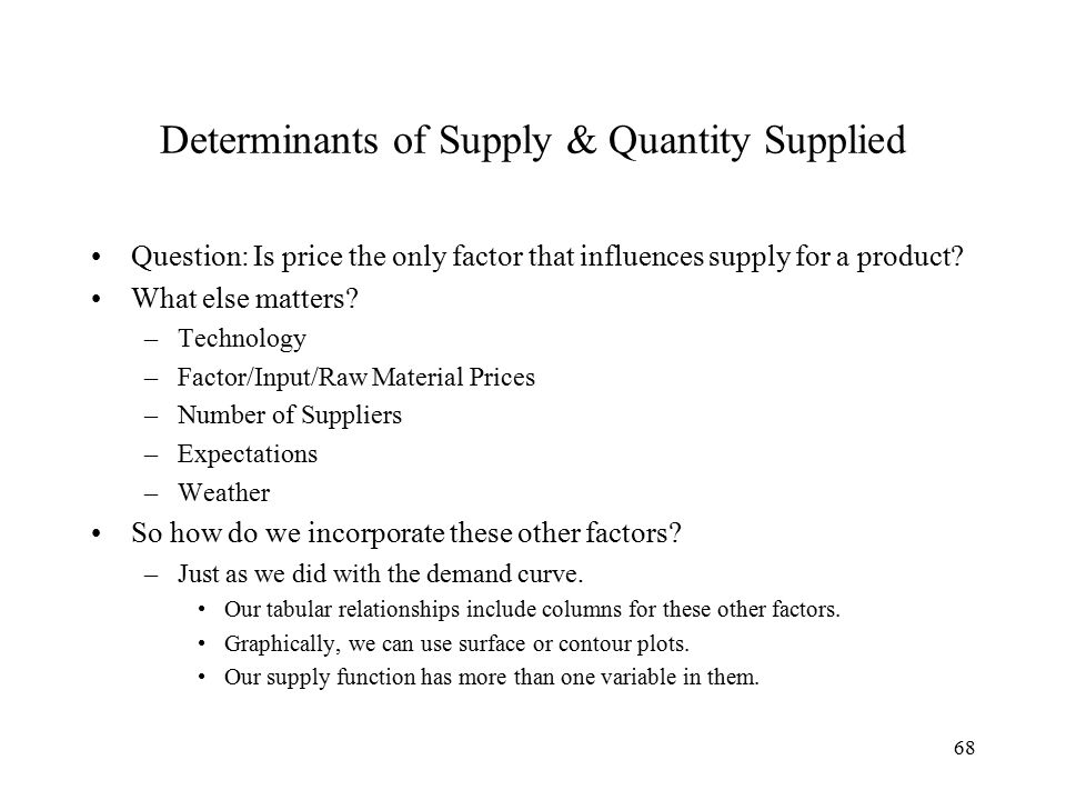 68 Determinants of Supply & Quantity Supplied Question: Is price the only factor that influences supply for a product.
