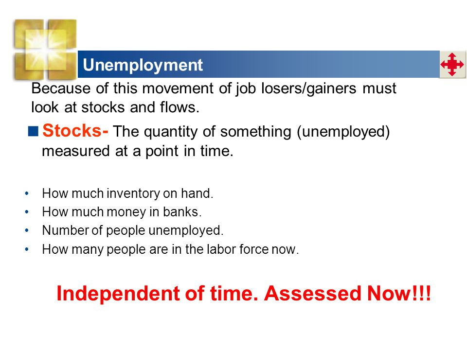 Unemployment  Stocks- The quantity of something (unemployed) measured at a point in time. How much inventory on hand. How much money in banks. Number