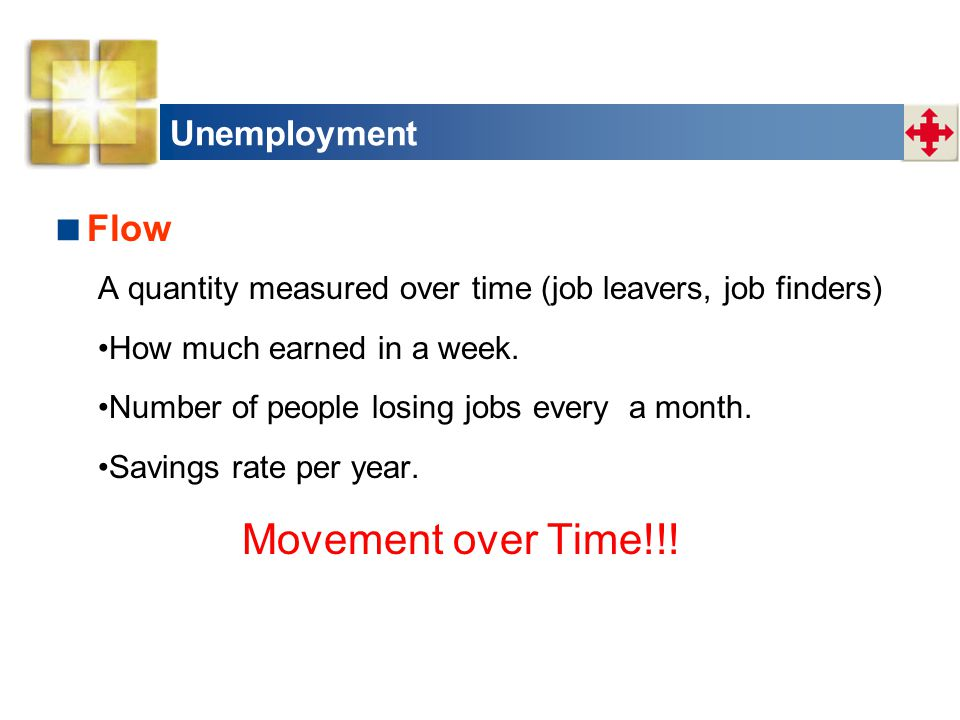Unemployment  Flow A quantity measured over time (job leavers, job finders) How much earned in a week. Number of people losing jobs every a month. Sa