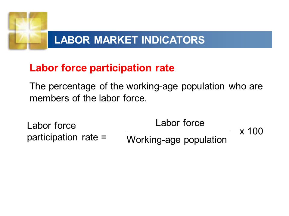 LABOR MARKET INDICATORS Labor force participation rate The percentage of the working-age population who are members of the labor force. Labor force pa