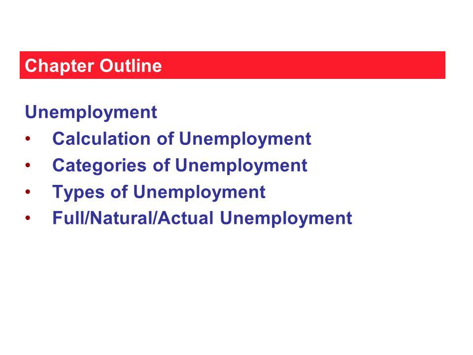 Unemployment  Unemployment Categories 1) Job loser 2) Reentrant 3) Job leaver 4) New entrant