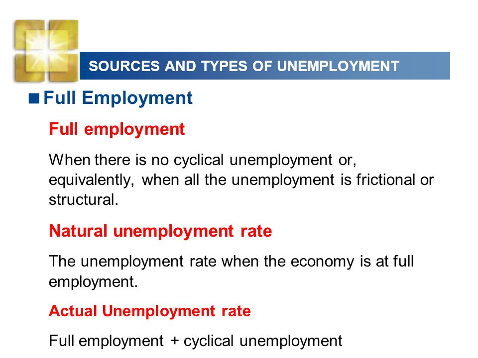 SOURCES AND TYPES OF UNEMPLOYMENT  Full Employment Full employment When there is no cyclical unemployment or, equivalently, when all the unemployment