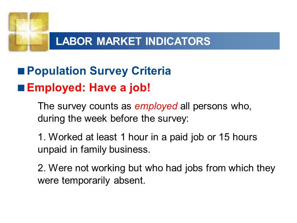 LABOR MARKET INDICATORS Unemployed: Do not have a job.