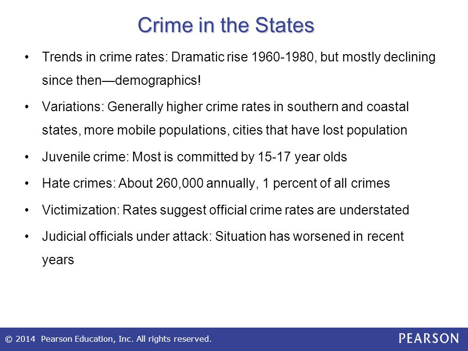 © 2014 Pearson Education, Inc. All rights reserved. Crime in the States Trends in crime rates: Dramatic rise 1960-1980, but mostly declining since the