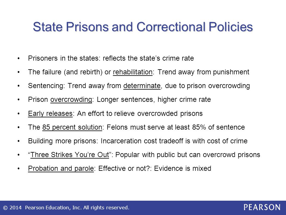© 2014 Pearson Education, Inc. All rights reserved. State Prisons and Correctional Policies Prisoners in the states: reflects the state's crime rate T