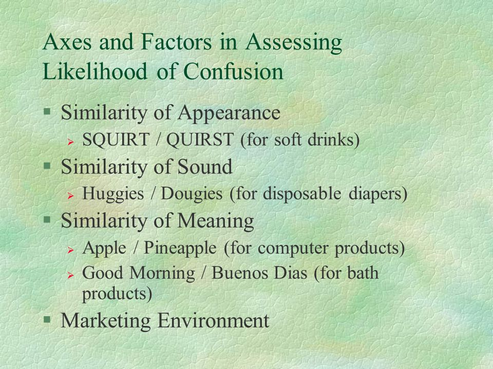 Axes and Factors in Assessing Likelihood of Confusion §Similarity of Appearance  SQUIRT / QUIRST (for soft drinks) §Similarity of Sound  Huggies / D