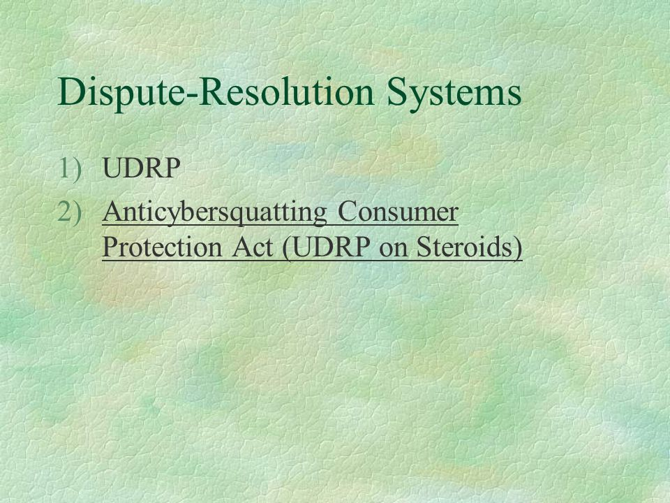 Dispute-Resolution Systems 1)UDRP 2)Anticybersquatting Consumer Protection Act (UDRP on Steroids)