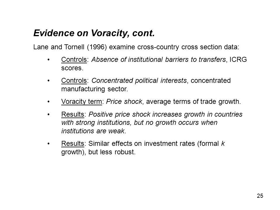 25 Evidence on Voracity, cont.