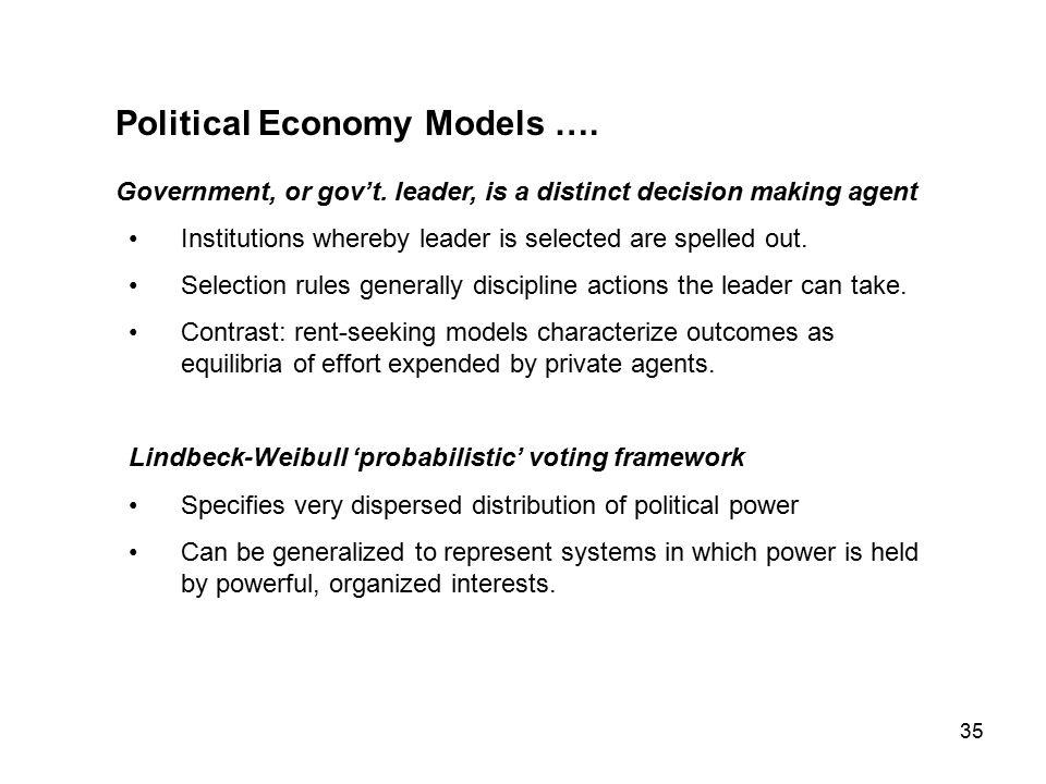 35 Political Economy Models …. Government, or gov't.