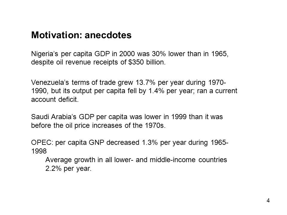 4 Motivation: anecdotes Nigeria's per capita GDP in 2000 was 30% lower than in 1965, despite oil revenue receipts of $350 billion.