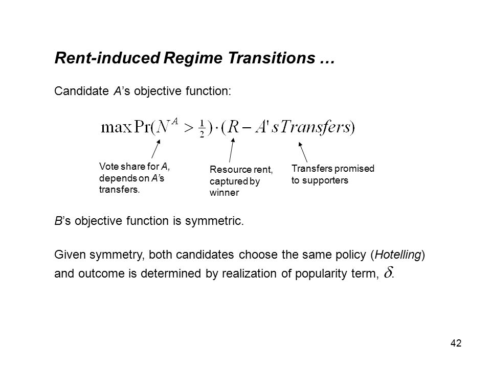 42 Rent-induced Regime Transitions … Candidate A's objective function: B's objective function is symmetric.