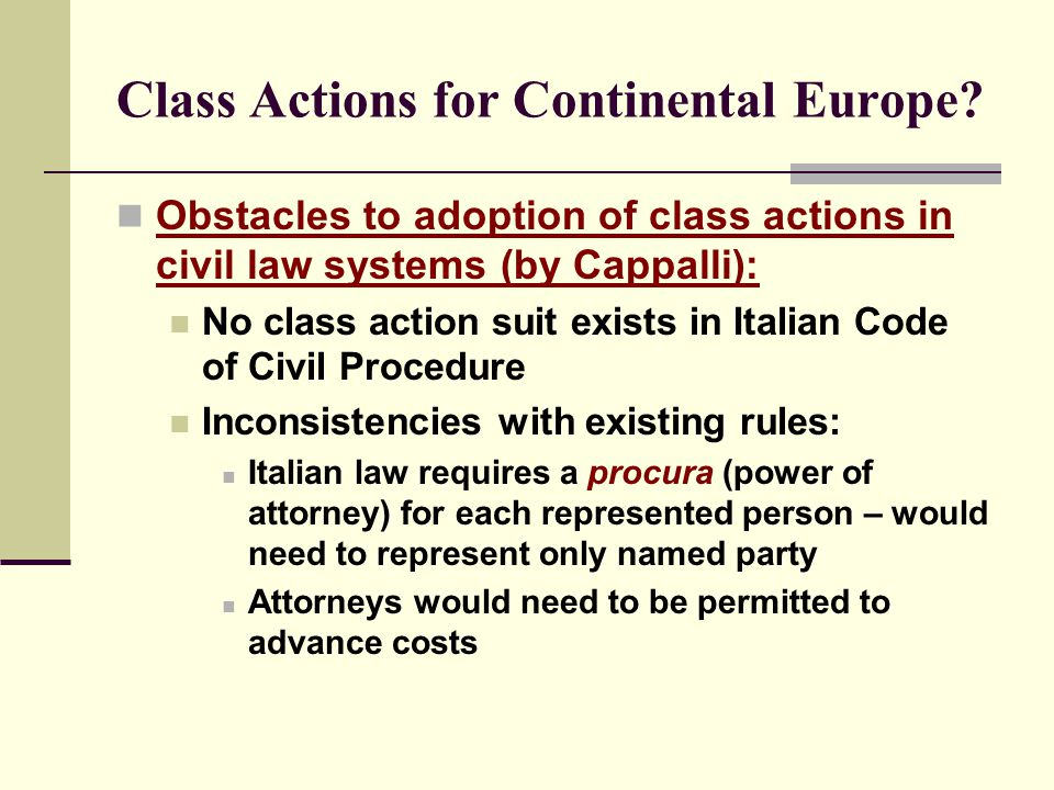 Class Actions for Continental Europe.