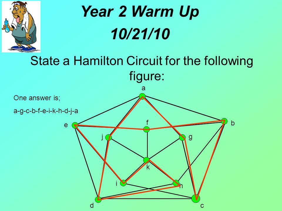 b cd a e f g h i j k One answer is; a-g-c-b-f-e-i-k-h-d-j-a Year 2 Warm Up 10/21/10 State a Hamilton Circuit for the following figure: