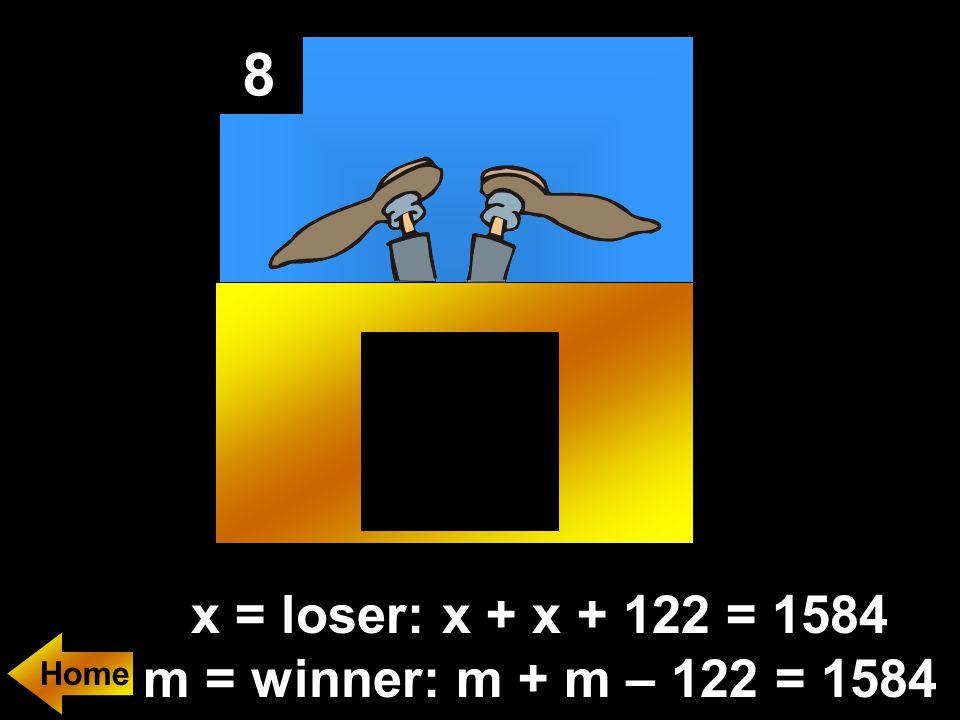 8 x = loser: x + x + 122 = 1584 m = winner: m + m – 122 = 1584