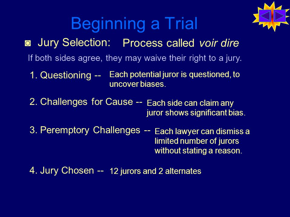 Beginning a Trial ◙ Jury Selection: Process called voir dire 1.