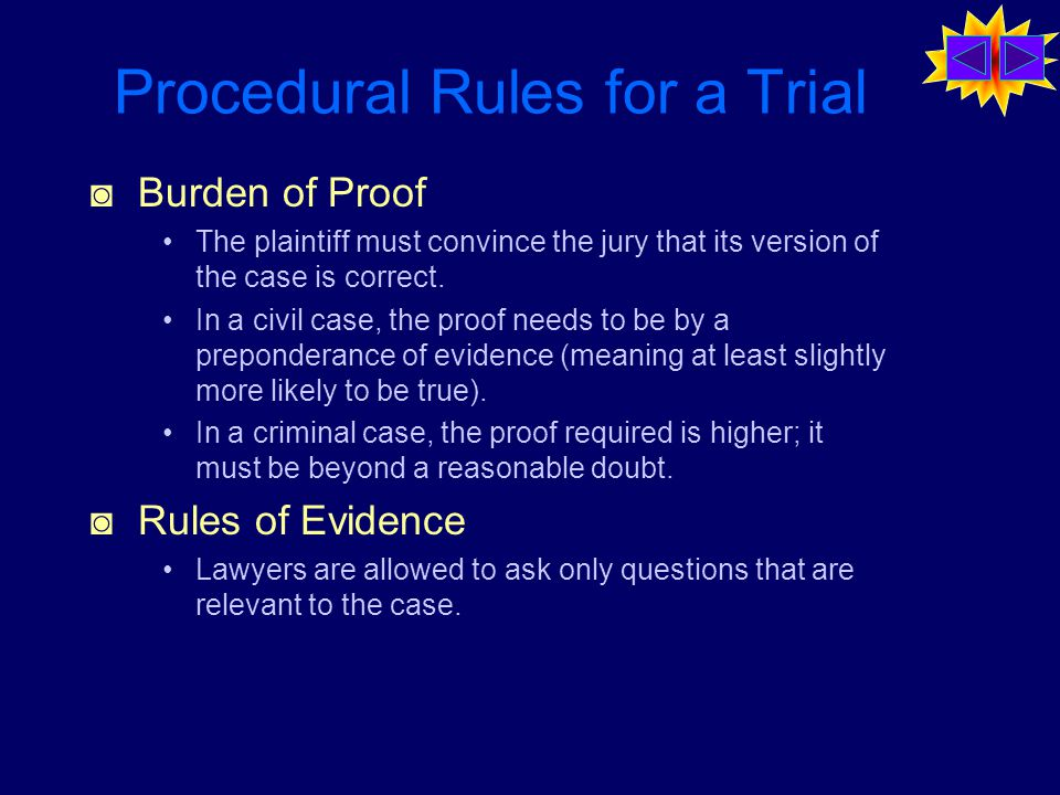 Procedural Rules for a Trial ◙ Burden of Proof The plaintiff must convince the jury that its version of the case is correct.