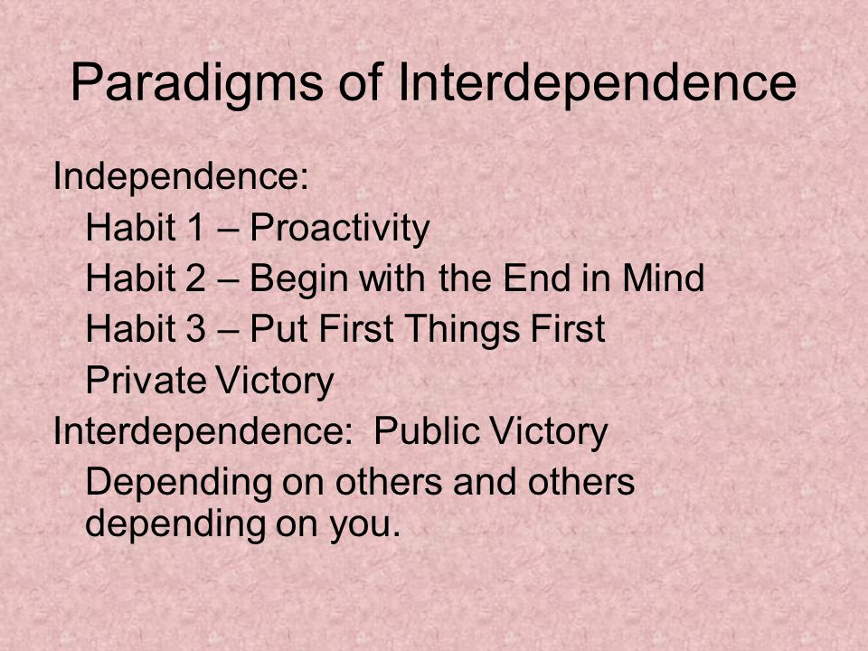 Paradigms of Interdependence Independence: Habit 1 – Proactivity Habit 2 – Begin with the End in Mind Habit 3 – Put First Things First Private Victory Interdependence: Public Victory Depending on others and others depending on you.