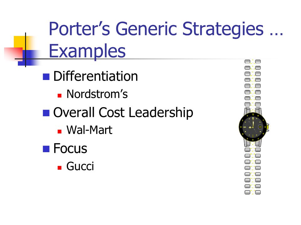 Porter's Generic Strategies … Examples Differentiation Nordstrom's Overall Cost Leadership Wal-Mart Focus Gucci