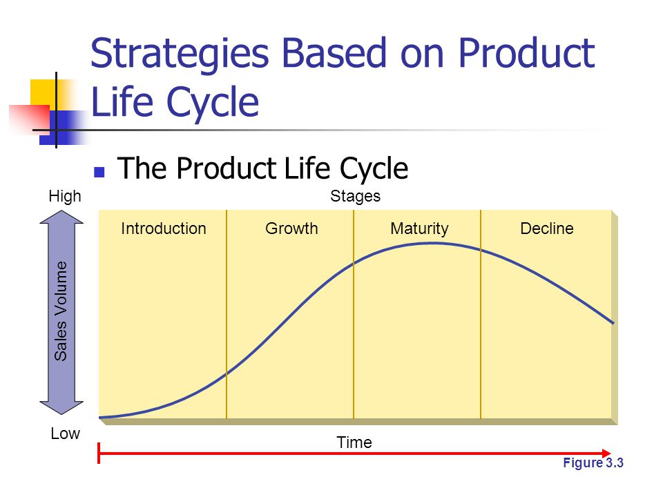 Strategies Based on Product Life Cycle The Product Life Cycle Introduction Time Stages GrowthMaturityDecline High Low Sales Volume Figure 3.3