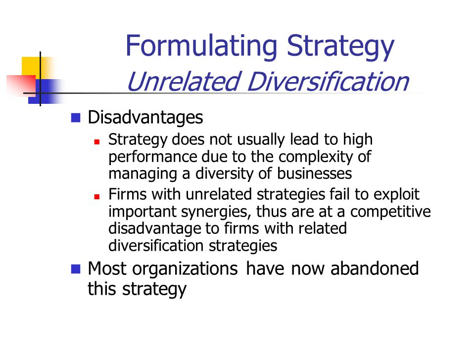Formulating Strategy Unrelated Diversification Disadvantages Strategy does not usually lead to high performance due to the complexity of managing a diversity of businesses Firms with unrelated strategies fail to exploit important synergies, thus are at a competitive disadvantage to firms with related diversification strategies Most organizations have now abandoned this strategy
