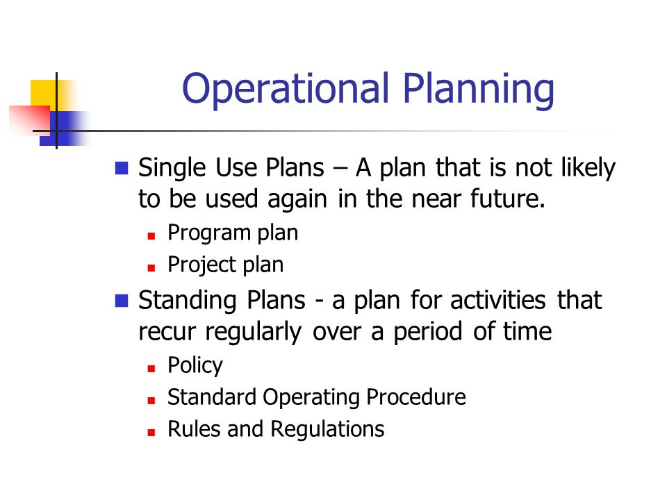 Operational Planning Single Use Plans – A plan that is not likely to be used again in the near future.