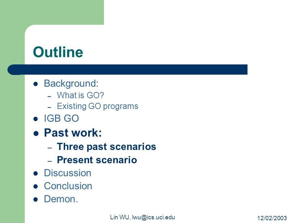 12/02/2003 Lin WU, lwu@ics.uci.edu Outline Background: – What is GO.