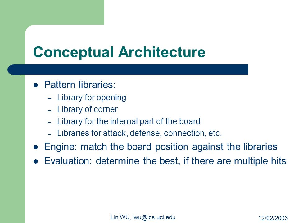 12/02/2003 Lin WU, lwu@ics.uci.edu Conceptual Architecture Pattern libraries: – Library for opening – Library of corner – Library for the internal par