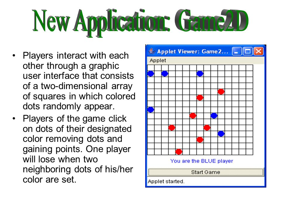 Players interact with each other through a graphic user interface that consists of a two-dimensional array of squares in which colored dots randomly appear.