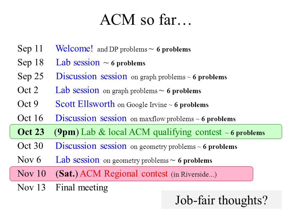 ACM so far… Sep 11 Welcome.