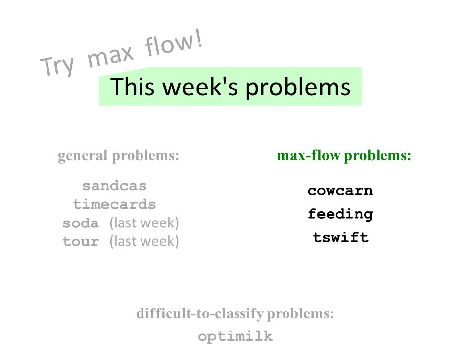 general problems:max-flow problems: cowcarn feeding optimilk sandcas timecards tswift difficult-to-classify problems: This week s problems Try max flow.