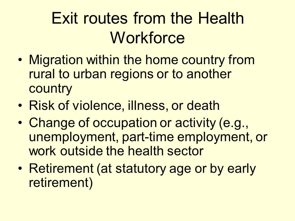 Exit routes from the Health Workforce Migration within the home country from rural to urban regions or to another country Risk of violence, illness, o