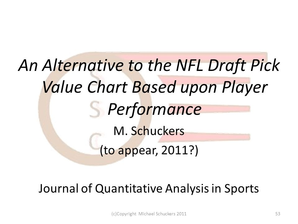 An Alternative to the NFL Draft Pick Value Chart Based upon Player Performance M.