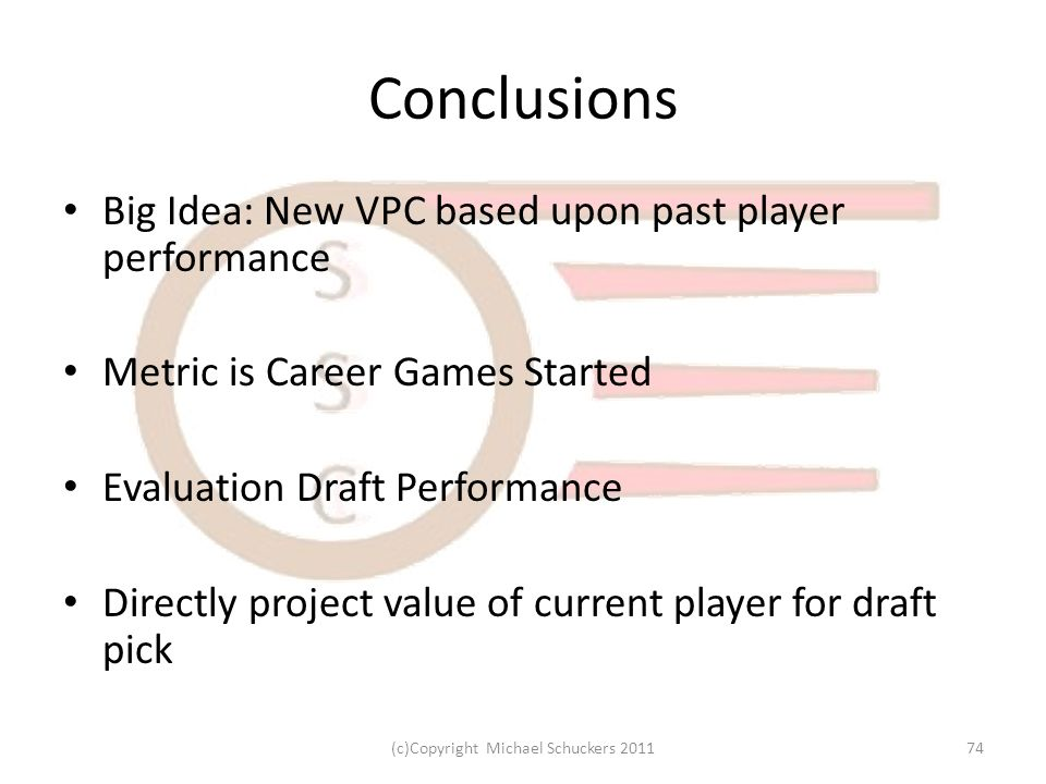 Conclusions Big Idea: New VPC based upon past player performance Metric is Career Games Started Evaluation Draft Performance Directly project value of current player for draft pick 74(c)Copyright Michael Schuckers 2011