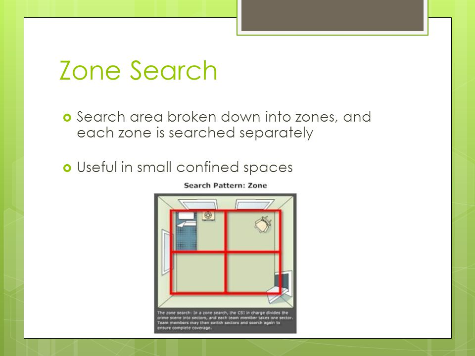 Zone Search  Search area broken down into zones, and each zone is searched separately  Useful in small confined spaces