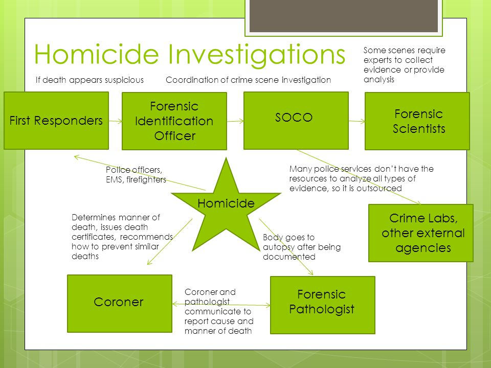 Homicide Investigations Homicide First Responders SOCO Forensic Identification Officer Coroner Forensic Pathologist Body goes to autopsy after being d