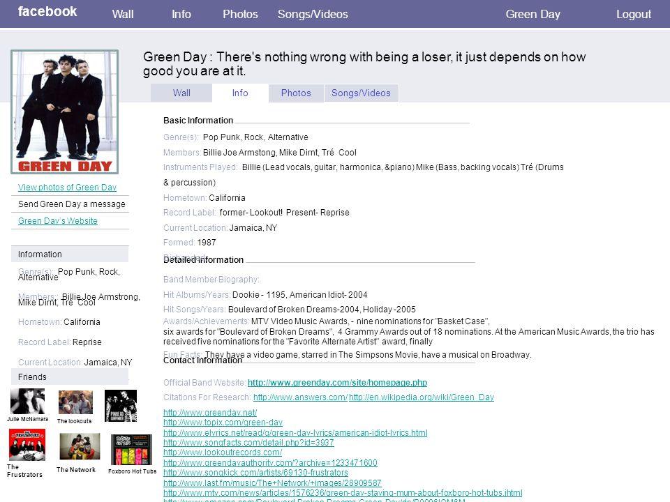 Wall InfoPhotosSongs/Videos Detailed Information Basic Information Genre(s): Pop Punk, Rock, Alternative Members: Billie Joe Armstong, Mike Dirnt, Tré