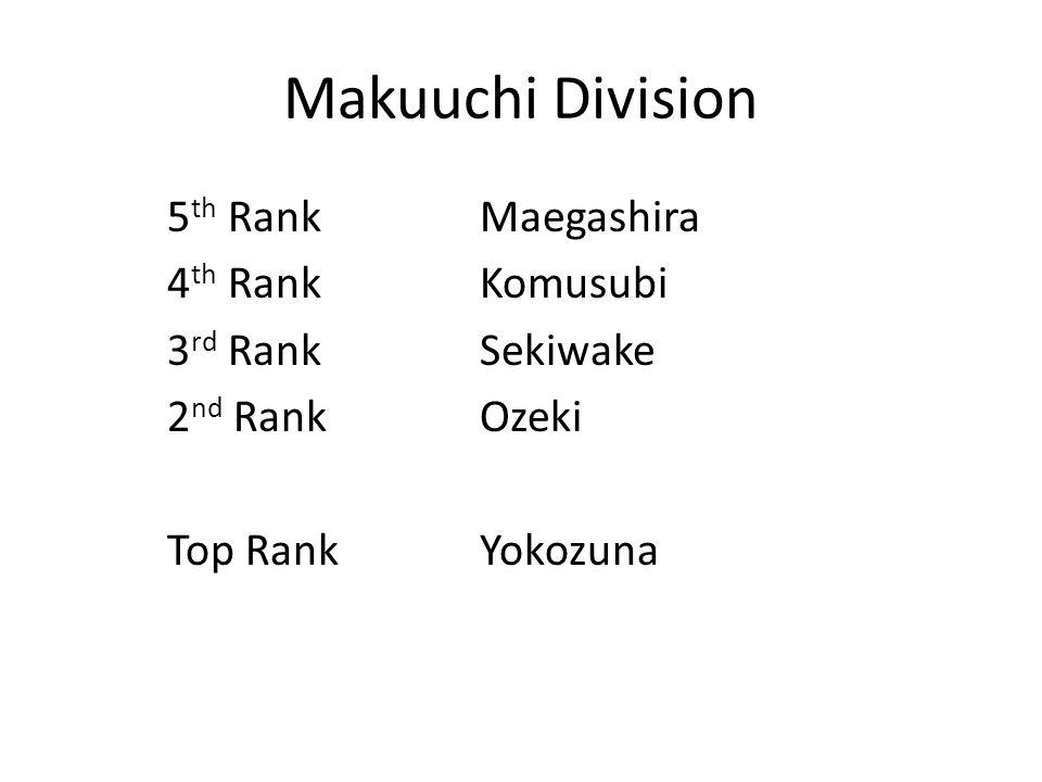 Makuuchi Division 5 th RankMaegashira 4 th RankKomusubi 3 rd RankSekiwake 2 nd RankOzeki Top RankYokozuna