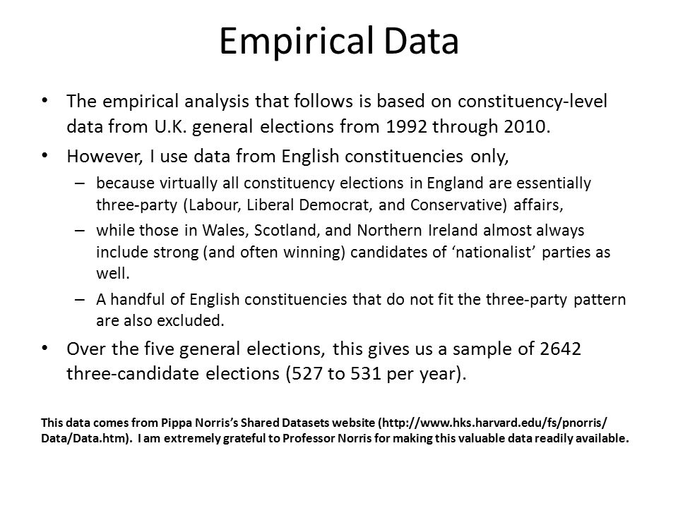 Empirical Data The empirical analysis that follows is based on constituency-level data from U.K.