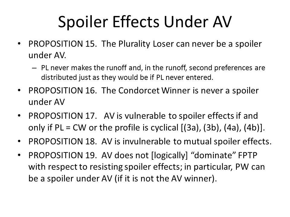 Spoiler Effects Under AV PROPOSITION 15. The Plurality Loser can never be a spoiler under AV.