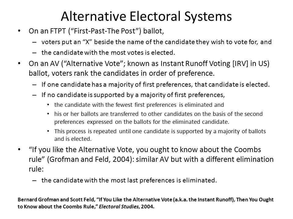 Alternative Electoral Systems On an FTPT ( First-Past-The Post ) ballot, – voters put an X beside the name of the candidate they wish to vote for, and – the candidate with the most votes is elected.