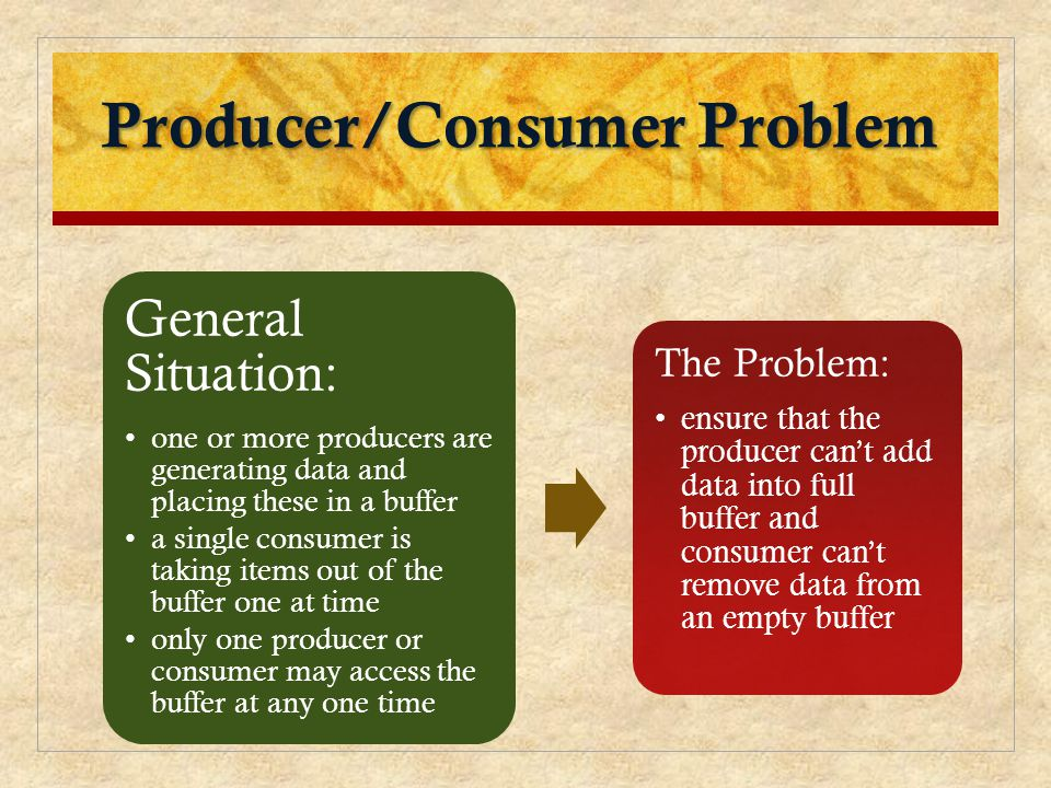 Producer/Consumer Problem General Situation: one or more producers are generating data and placing these in a buffer a single consumer is taking items out of the buffer one at time only one producer or consumer may access the buffer at any one time The Problem: ensure that the producer can't add data into full buffer and consumer can't remove data from an empty buffer