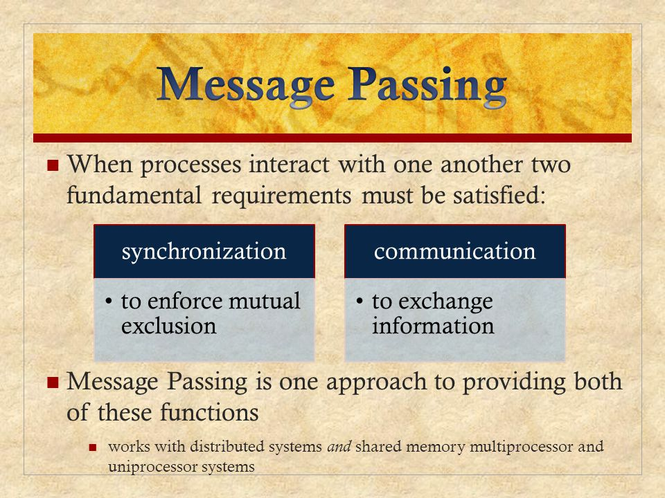 When processes interact with one another two fundamental requirements must be satisfied: Message Passing is one approach to providing both of these functions works with distributed systems and shared memory multiprocessor and uniprocessor systems synchronization to enforce mutual exclusion communication to exchange information