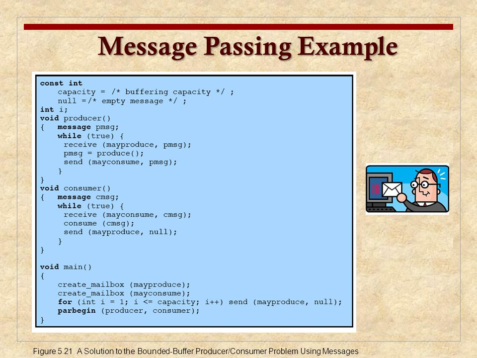 Message Passing Example Message Passing Example Figure 5.21 A Solution to the Bounded-Buffer Producer/Consumer Problem Using Messages